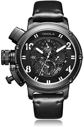 Reloj casual para hombre s impermeable automático mecánico de cuerda manual con correa de piel de becerro reloj de pulsera de cara grande para hombres C-A