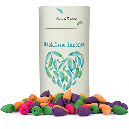 Backflow Incense Cones,Waterfall Backflow Incense Rose Lavender Jasmine Lemon Ocean - 5 Fragrances with 16 Backflow Cones Each Variety Pack by Foucilo