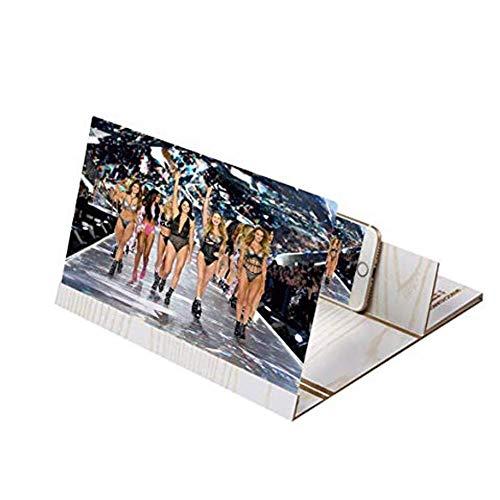 Houten 3d vergrootglas voor smartphones, 12 inch (30,5 cm) beeldschermloep, voor smartphone-antistraling, goudkleurig wit