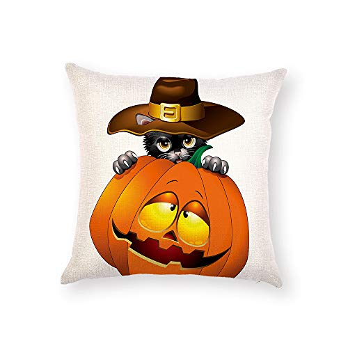 Z&HA Halloween Pillow Covers Witch Pumpkin and Crow Cotton Linen Throw Pillows Decorative Square Cushion Cover 18x18 Inches Pillowcase,G