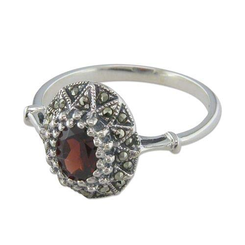 Genuine Sterling Silver Ring Fancy Garnet/Marcasite Oval Cluster Brand New