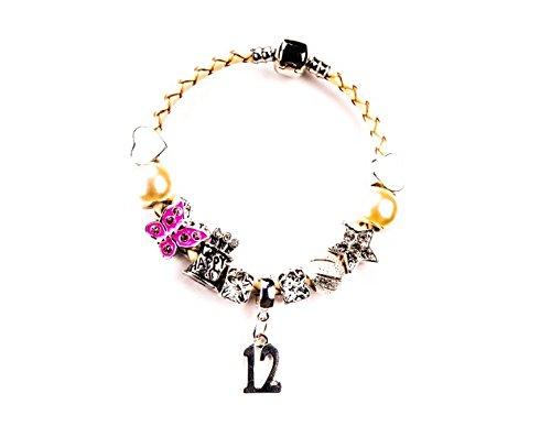 Charm-Armband für Mädchen zum 12. Geburtstag, in einem luxuriösen Samt-Geschenkbeutel mit einer kostenlosen Geburtstagskarte