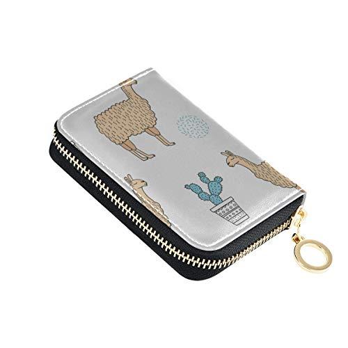 Reißverschluss Kreditkarte Brieftasche Cartoon niedlichen lustigen Tier Alpaka Haustier Kartenhalter Fall Pu Leder Reißverschluss kompakte Größe Leder Kreditkarte Brieftasche für Frauen Damen Mädchen