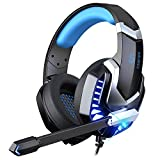 iporachx Cuffie Gaming, Cuffie Over Ear con Microfono Luce LED e Controllo Volume, Bass Stereo, Cancellazione del Rumore e un Adattatore da 3,5 mm, per PS4/PC/Laptop/Mac/Xbox one
