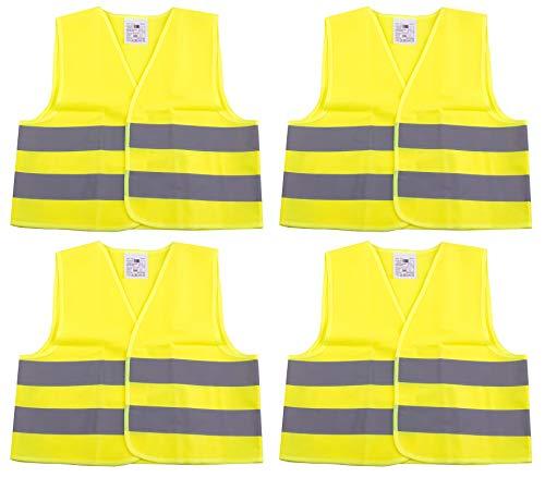 4er Set Warnweste für Kinder 3-12 Jahre alt - Nach DIN EN 1150 mit variablem Klettverschluss - Ideal für den nach Hause Weg und Schulweg bei Dämmerung und Dunkelheit