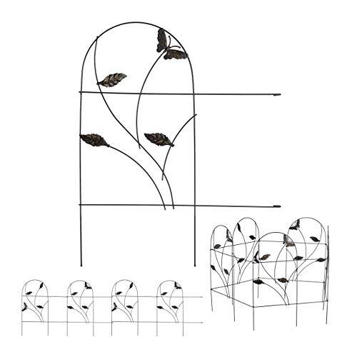 Relaxdays Recinzione da Giardino, Set 5 Pareti per Cortile, Recinto Decorativo, Metallo, Design Antico, 46x250 cm, Nero, 5 TLG