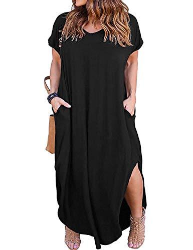 Kancystore Women's Plus Size Casual Loose Pocket Long Dress Short Sleeve Plus Size Slit Maxi Dress XL-5X (4XL, Yellow)