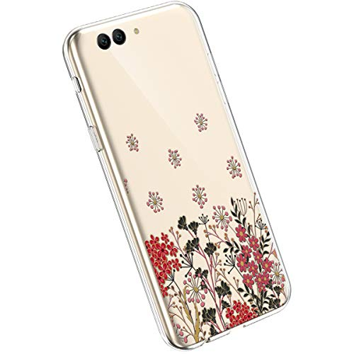 Ysimee kompatibel mit Huawei Honor V10 /View 10 Handyhülle Ultra-Transparente Felxible TPU Silikon Handyhülle Hülle mit Anti-Rutsch Kratzfest Crystal Hülle mit Muster Blumen Design, Blume -16