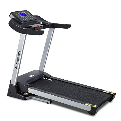 MaxKare Electric Folding Treadmill Auto Incline Running Machine 3HP Power 10MHP Speed 15-Level Adjustment with 15 Pre-Set Training Programs Large LCD Display Cup Holder for Home Use
