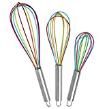Silicone Whisk, Silicone Balloon Whisk Kitchen Whisk with Stainless Grip Handle for Blending, Whisking, Beating, Frothing & Stirring-Set of 3