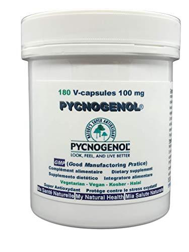 Pycnogenol® – 100 mg (pro Kapsel) 180 pflanzliche Kapseln (Dosierung bis zu 6 Monate) – Extrakt aus der Meereskiefere, der an den sandigen Küsten im Südbordeaux wächst, HALAL/KOSHER/VEGÉTARIEN