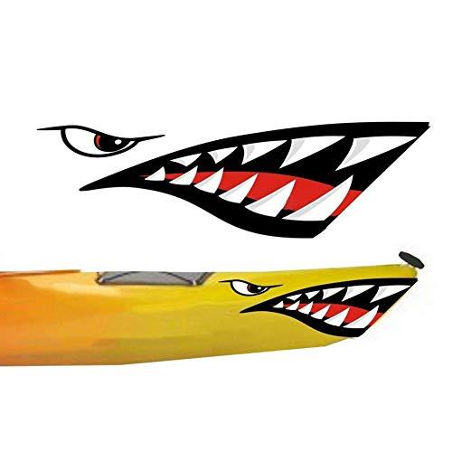 Baywell 2 Pieces Shark Teeth Mouth Vinyl Decals Sticker - Waterproof and Durable - for Motorcycle Sport Bike Kayak Canoe Fishing Boat Truck Jet Ski Hobie Dagger Ocean Boat DIY Funny Decor