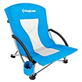 KingCamp Low Sling Beach Folding Chair with Cup Holder Pocket for Outdoor Camping Concert Lawn Sand Festival, Blue