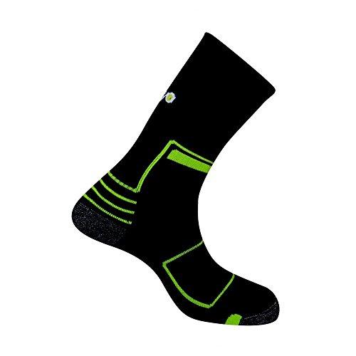 Thyo - Chaussettes idéales Randonnée et Marche Nordique en laine Merinos - couleur - Noir vert - Pointure - 44-46