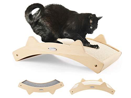 pecute Katzen Kratzbrett(42x27.5x12cm), Gewebter Sisal + Teppich Stoff Doppelseitig haltbarer Katzen kratzmatte, Holzstruktur Kitty Kratz Pads Katzenliege