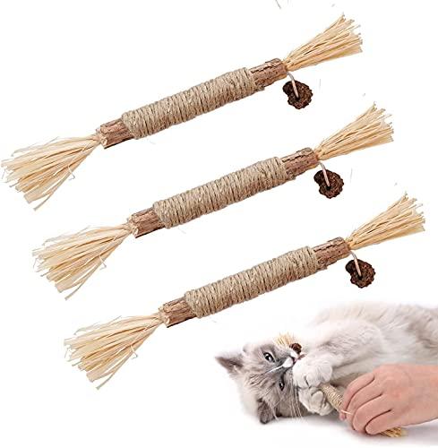 Dorakitten Katzenminzen Sticks, 3X Katzenminze Spielzeug Matatabi Katzen Kauhölzer Silvervine Sticks für Katzen Zahnpflege & gegen Mundgeruch Natürlich Sicher Katzensticks Kausticks Set