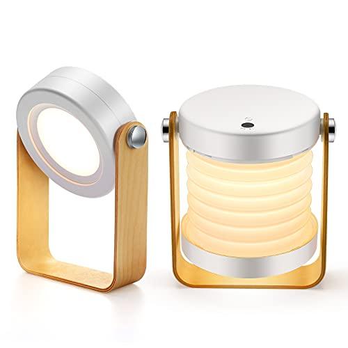 Tischlampe LED USB wiederaufladbar, Sintage Touch Dimmbar, drei Lichtmodi, 360° Beleuchtung Tragbar Faltlaternenlicht , Geeignet für Campinglampe Schlafzimmer Wohnzimmer Lesen