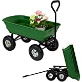 Garden Dump Cart with Steel Frame Duty Wagon Carrier Pneumatic Tires 600-Pound 600-Pound for Outdoor Lawn Riding Yard