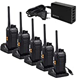 Retevis RT27 Walkie Talkie, Walkie Talkie Recargable con 5 Puertos USB Cargador, Walkies Profesionales, PMR446 sin Licencia 16 Canals CTCSS/DCS VOX, Walkie Talkie Largo Alcance ( 5 Piezas,Negro)