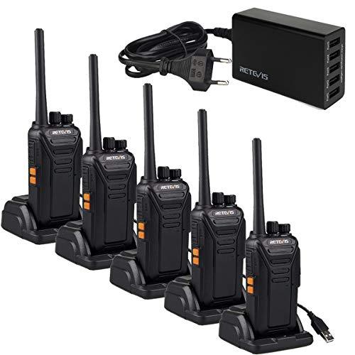 Retevis RT27 Walkie Talkie, Walkie Talkie Recargable con 5 Puertos USB Cargador, Walkies Profesionales, PMR446 sin Licencia 16 Canals CTCSS/DCS VOX, Walkie Talkie Largo Alcance ( 5 Piezas,Negro)