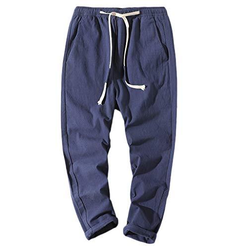 BURFLY Männer Baumwoll und Leinen Riemen neun Hosen entwerfen Neue lässige Hosen Jogginghosen