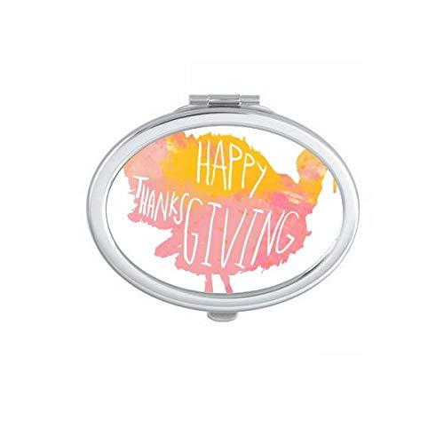 DIYthinker Joyeux Thanksgiving Day Rose Motif Ovale Maquillage Compact Miroir de Poche Miroirs Mignon Petit Cadeau Portable à la Main Multicolor