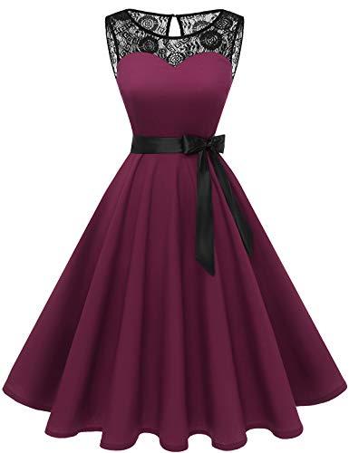 bbonlinedress 1950er Ärmellos Vintage Retro Spitzenkleid Rundhals Abendkleid Burgundy XS