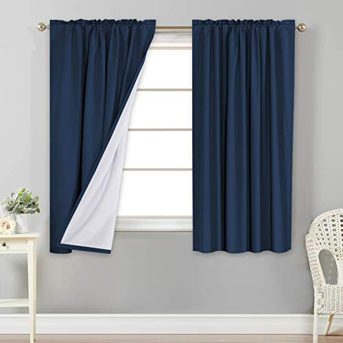 Flamingo P 100% Blackout Curtains Window Treatment Curtain with White Backing Thermal Insulated Rod Pocket Curtains for Bedroom 2 Tie-Backs (2 Panels 52 x 63 Inch, Navy)