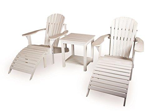 Adirondack Set, weiß (2 Gartenstühle, Beistelltisch, 2 Fußstützen), aus exklusivem Mahagoni Hartholz