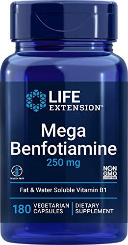 Life Extension Mega Benfotiamine, 250 mg, 180 Veg caps with Thiamine - Vitamin B1 Supplement