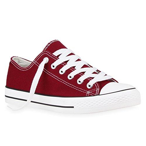 stiefelparadies Herren Sneakers Low Canvas Profilsohle Turn Schuhe 117279 Dunkelrot 42 Flandell