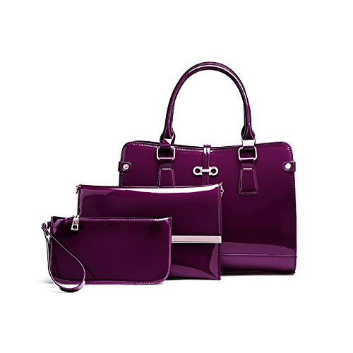 Tisdaini Donna Borse a mano moda 3 pezzi vernice Borse a spalla Borse a tracolla Borse Tote Pochette e Clutch Viola