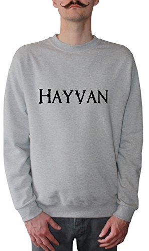 Mister Merchandise Homme Sweatshirt Hayvan du Tier Haiwan HaywanPull Sweat Men, Taille : L, Couleur: Gris
