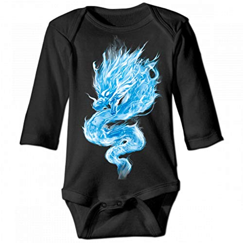 Chinese Dragon Unisex Baby Round Neck Long Sleeve Bodysuit, Fashion Casual Baby Climbing Suit 2T