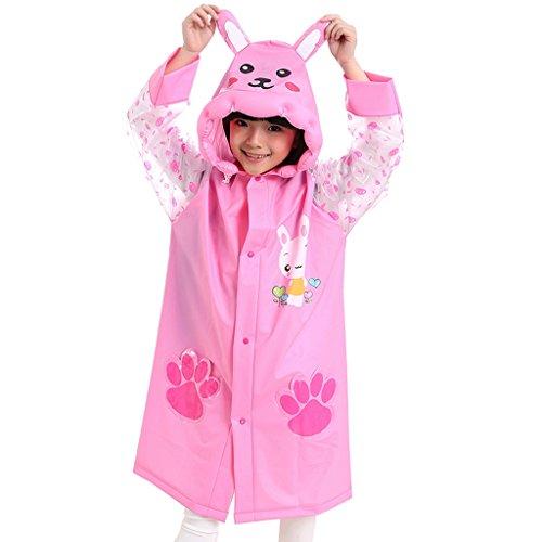 Vestes anti-pluie QFF Impression Raincoat Enfant Forme gonflé Big Hat Boys and Girls Student Poncho (Couleur : Rose, Taille : XL)