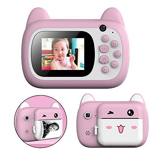 HYLFF Kids Camera Polaroid, Portable Children Anti-Fall Video Recorder with Print Function, Best Toys Birthday for Girls Boys, Mini Cartoon Camcorder,Pink