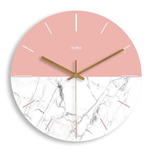 ZHXH Holzwanduhren Modernes Wohnzimmer Home Wanddekoration Rundes Holz Silent Hängende Uhr Pink and White 10/12/14 / Inch
