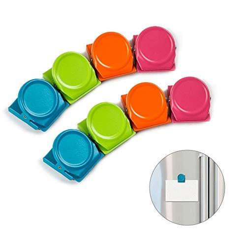 マグネットクリップ 冷蔵庫 磁石クリップ 4色 強力 オフィス 家 学校 事務用品 付箋 ファイル紙固定 カラフル 8個入
