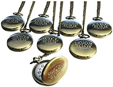 6 Personalized Pocket Watches Set of 6 Groomsmen Wedding Unique Gifts Chain Box and Engraving product image