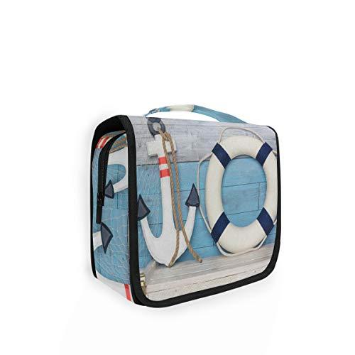 Rulyy Trousse de toilette à suspendre en bois avec ancre bouée en bois pour cosmétiques, grande capacité, organisateur de voyage, trousse de maquillage, sac portable pour filles, femmes et femmes