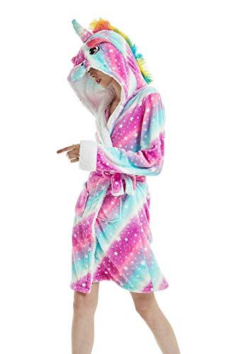 Woneart Donna Accappatoio con Cappuccio Costumi Unicorno Pigiama Vestaglia Animale Indumenti da Notte Bagno Halloween Carnevale Festa Tutina Pigiameria (Medium for 157cm-163cm, Starry Sky Unicorn)