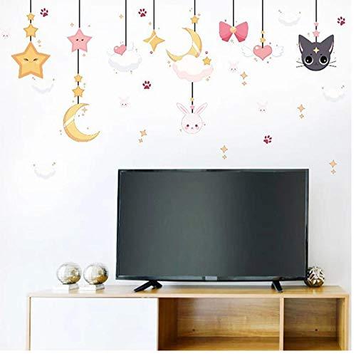 Dibujos animados Luna estrella encanto bebé niña dormitorio decoración de la habitación autoadhesivo pegatina de pared extraíble vinilo papel tapiz carteles