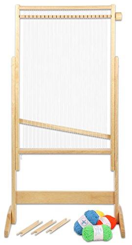 Betzold 81674 - Holz-Webrahmen groß 80 x 48,5 cm inkl. Bespannung, Zubehör - Weben Lernen Kinder Schulwebrahmen Rahmen