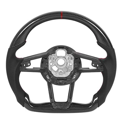 Volante, Fibra de Carbono Automotriz Auto Racing Volante Nappa Cuero perforado Ajuste para R8 MK2 TT/TTS/TTRS MK3 2015+