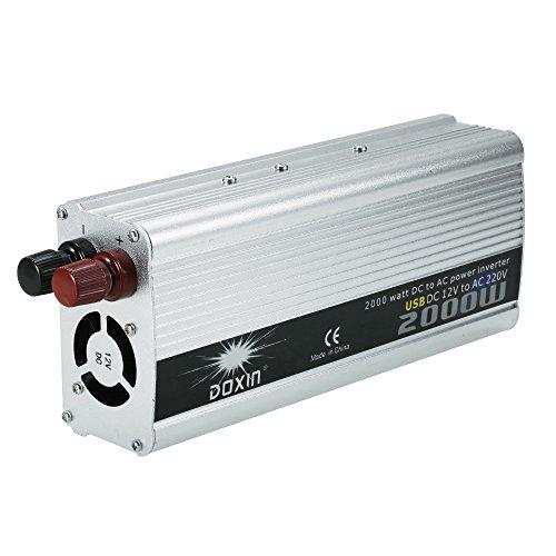 KKmoon 2000W Inversor de Corriente Portatil DC 12V a AC 220V Convertidor Adaptador de Fuente de Alimentacion