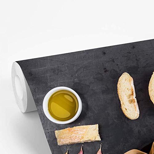 Fotobehang vinyl Knolling - Eten - Knolling - verzameling van etenswaren met camembert en brood 600x400 cm