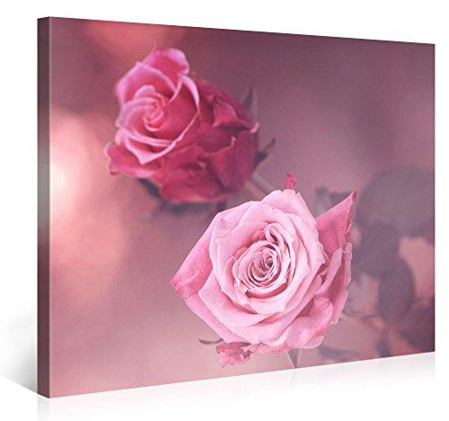 Gallery of Innovative Art – Two Pink Roses – 100x75cm – Larga Stampa su Tela per Decorazione murale – Immagine su Tela su Telaio in Legno – Stampa su Tela Giclée – Arazzo Decorazione murale