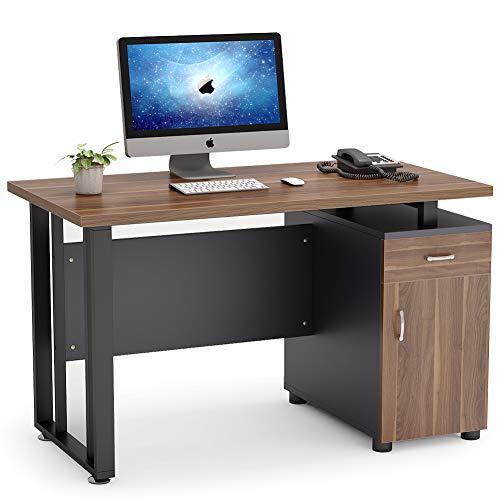 home office desk with storages Tribesigns Computer Desk with Storage Drawer, 47 inch Modern Office Desk with Cabinet Study Writing Table Computer Workstation for Home Office