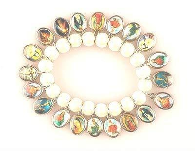 rosarybeads4u 20 Images SAINTS BRACELET Icon WHITE Beads 6459