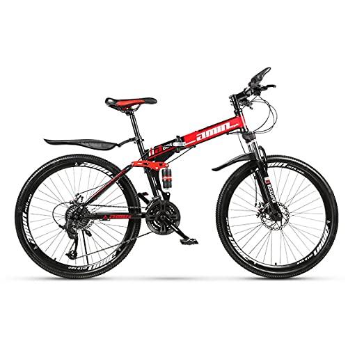 GGXX Bicicleta MontañA con SuspensióN Completa 21/24/27/30 Velocidades Y 26 Pulgadas Doble Rueda Integrada con AmortiguacióN Plegable Acero con Alto Contenido Carbono Doble Disco Freno